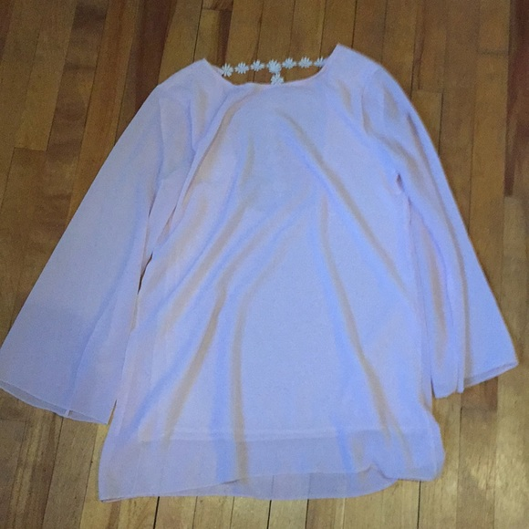 Pretty pink long chiffon blouse